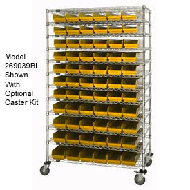 "Chrome Wire Shelving with 88 4""H Plastic Shelf Bins Yellow, 60x24x74"
