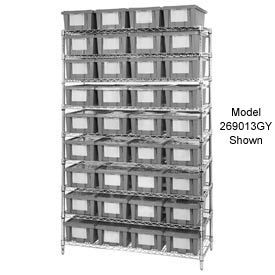 """Chrome Wire Shelving With 24 9""""H Nest & Stack Shipping Totes Gray, 48x18x74"""