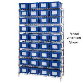 """Chrome Wire Shelving With 12 10""""H Nest & Stack Shipping Totes Blue, 72x24x63"""