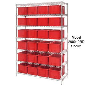 """Chrome Wire Shelving With 36 6""""H Grid Container Red, 48x18x74"""