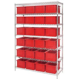 "Chrome Wire Shelving With 24 8""H Grid Container Red, 48x18x74"
