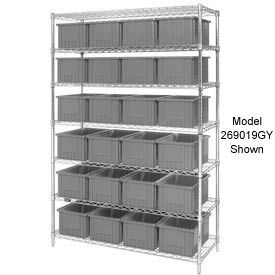 """Chrome Wire Shelving With 24 6""""H Grid Container Gray, 60x24x74"""