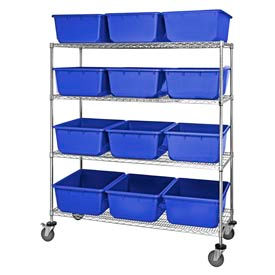 "24x60x69 Mobile Chrome Wire Truck With 12 9-1/2""H Nesting Totes Blue"
