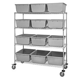 """Quantum MWR4-2419-9 Mobile Chrome Wire Truck With 12 9-1/2""""H Nesting Totes Gray, 60""""L x 24""""W x 69""""H"""