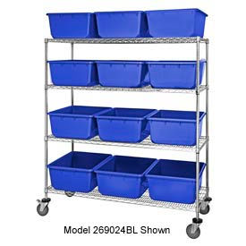 """Quantum MWR7-1711-8 Mobile Chrome Wire Truck With 24 8"""" Cross Stack Nest LugTotes Blue, 36""""x18""""x69"""""""