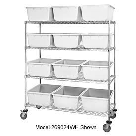 "18x36x69 Mobile Chrome Wire Truck With 24 8""H Cross  Stack Nest Lug Totes White"