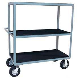 "Vinyl Matted Three Shelf Cart w/ 8"" Semi-Pneumatic Casters - 18 x 36"