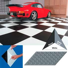 "Vinyl Tile Matting With Adhesive 12""x12"" Diamond Pattern Black case of 20"