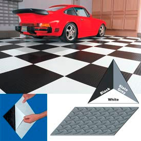 "Vinyl Tile Matting With Adhesive 24""x24"" Diamond Pattern White case of 10"