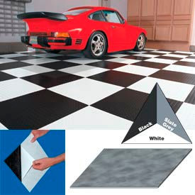 """Vinyl Tile Matting With Adhesive 24""""x24"""" Levant Pattern White Case of 10"""