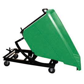 Bayhead Green Plastic Self-Dumping Forklift Hopper 5/8 Cu Yd with Caster Base