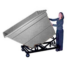 Bayhead Gray Plastic Self-Dumping Forklift Hopper 2.2 Cu Yd With Caster Base