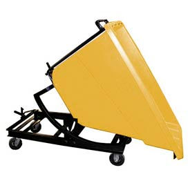 Bayhead Yellow Plastic Self-Dumping Forklift Hopper 5/8 Cu Yd with Caster Base