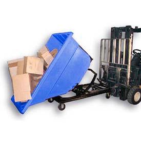 Bayhead Blue Plastic Self-Dumping Forklift Hopper 1.1 Cu Yd with Caster Base