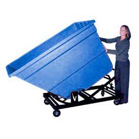 Bayhead Blue Plastic Self-Dumping Forklift Hopper 1.7 Cu Yd with Caster Base