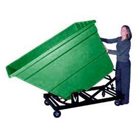 Bayhead Green Plastic Self-Dumping Forklift Hopper 1.7 Cu Yd with Caster Base