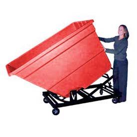 Bayhead Red Plastic Self-Dumping Forklift Hopper 1.7 Cu Yd with Caster Base