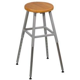 Lab Stool - Wood - Adjustable Height - Gray