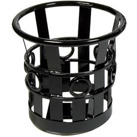 Small Round Outdoor Planter with Plastic Liner - Black