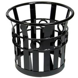 Medium Round Outdoor Planter with Plastic Liner - Black