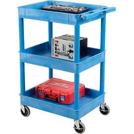 Luxor® BUSTC111BU Blue 3 Shelf Tray Shelf Plastic Cart 24 x 18