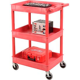 Luxor® RDSTC111RD Red 3 Shelf Tray Shelf Plastic Cart 24 x 18