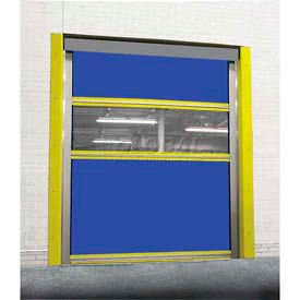TMI Spring-Loaded Roll-Up Dock Door PVC Coated Blue Vinyl Panels & Vision Panel 8x8