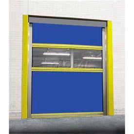TMI Spring-Loaded Roll-Up Dock Door PVC Coated Blue Vinyl Panels & Vision Panel 8x10