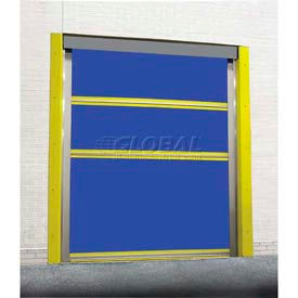 TMI Spring-Loaded Roll-Up Bug Dock Door with PVC Coated Blue Vinyl Panels 10x10