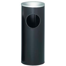 "Steel Ash And Trash Urn 3 Gallon Black With Aluminum Top 10"" Dia. x 25""H 3000BK"