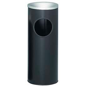 "Steel Ash And Trash Urn 3 Gallon Black With Aluminum Top 10"" Dia. x 25""H 3000BK"