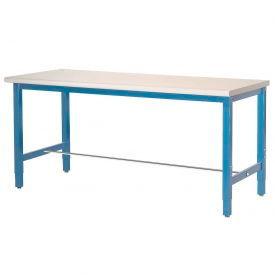 "72""W x 24""D Production Workbench - Plastic Laminate Square Edge - Blue"