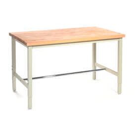 "72""W x 36""D Production Workbench - Maple Butcher Block Square Edge - Tan"