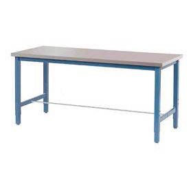"""60""""W x 30""""D Production Workbench - Stainless Steel Square Edge - Blue"""