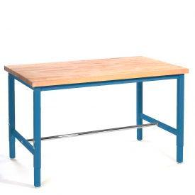 "72""W x 30""D Production Workbench - Maple Butcher Block Safety  Edge - Blue"