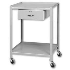 "Pucel™ TU-2028-2-1D Mobile Table 2 Shelves 1 Drawer 5"" Casters 28 x 20"