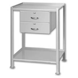 "Shop Stand 2 Shelves 2 Drawers with Foot Pads - 28""L x 20""W"