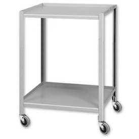 """Pucel™ TU-2324-2 Mobile Table 2 Shelves 3"""" Casters 24 x 23"""
