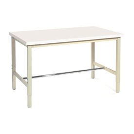"""72""""W x 30""""D Production Workbench - ESD Laminate Safety Edge - Tan"""