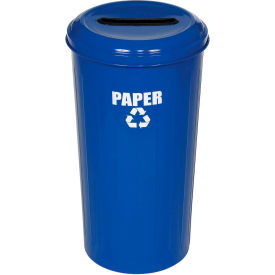 Round Steel Blue Recycling Container with Paper Slot Lid - 20 Gallon Capacity