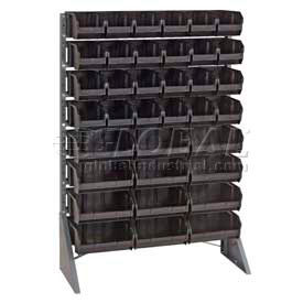 "Quantum QRU-16S-230-48CO Single Sided Floor Rail Rack w/ 48 10-7/8""D Conductive Bins, 36x15x53"