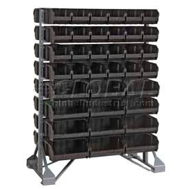 "36X20X53 Double Sided Floor Rail Rack With 192 7-3/8""D Conductive Stacking Bins"