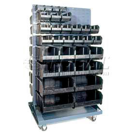 "36X25X72 Mobile Double Sided Floor Rack With 240 7 3/8"" Conductive Stacking Bins"