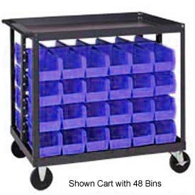 "Quantum QRC-4D-235-24 1/2 Mobile Bin Cart With 24 10-7/8""D Stacking Bins Blue, 36"" x 24"" x 35-1/2"""