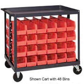 """Quantum QRC-4D-239-16 1/2 Mobile Bin Cart With 16 10-3/4""""D Stacking Bins Red, 36X24X35-1/2"""