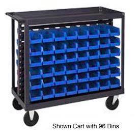 "Quantum QRC-7D-220-96 1/2 Mobile Bin Cart With 96 7-3/8""D Stacking Bins Blue, 36""L x 18""W x 35-1/2""H"