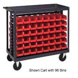 "Quantum QRC-7D-220-96 1/2 Mobile Bin Cart With 96 7-3/8""D Stacking Bins Red, 36""L x 18""W x 35-1/2""H"