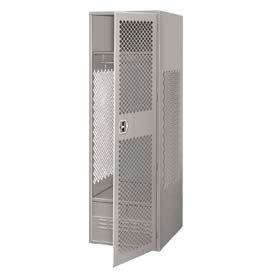 Pucel All Welded Gear Locker With Door And Foot Locker 24x18x72 Gray