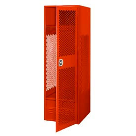 All Welded Gear Locker With Door And Foot Locker 24x18x72 Red