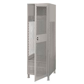 Pucel All Welded Gear Locker With Door Foot Locker And Legs 24x18x72 Gray